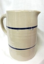 Vintage Blue Striped Clay Glazed Handmade Tea Pitcher Jug Pottery Stoneware - $117.57