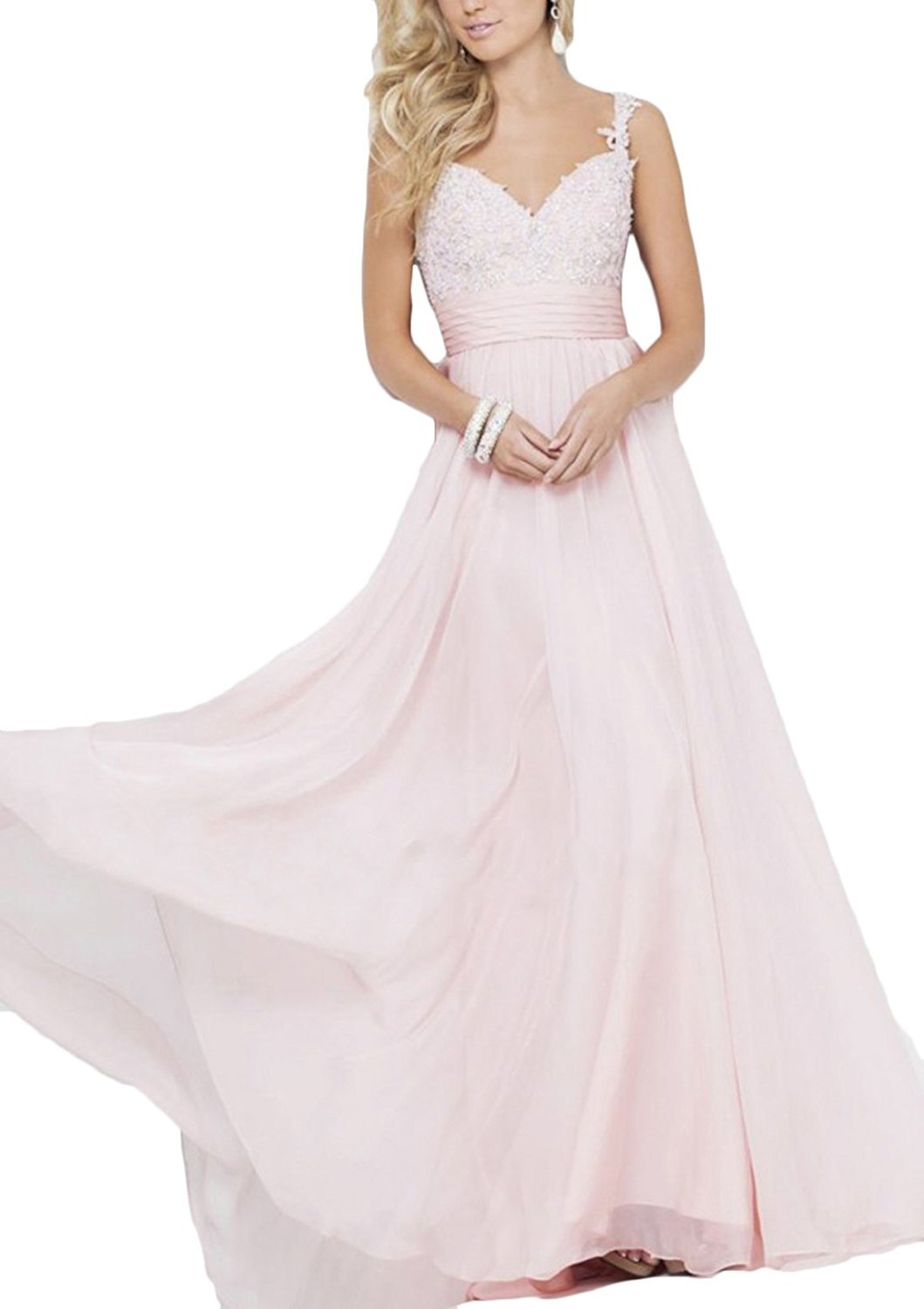 Women's Long Chiffon Bridesmaid Dress Lace Beaded Prom Evening Gown A Line