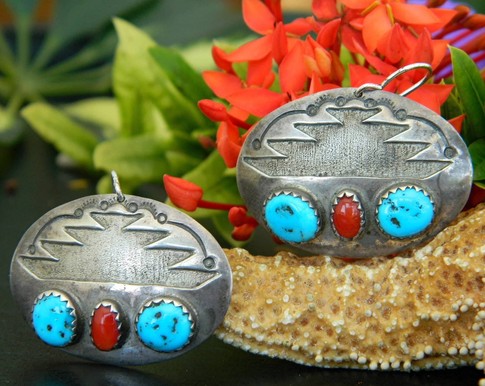 Southwestern silver earrings oval turquoise red coral pierced dangles
