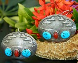 Southwestern silver earrings oval turquoise red coral pierced dangles thumb155 crop