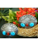 Southwestern Silver Earrings Oval Turquoise Red Coral Pierced Dangles - $19.95