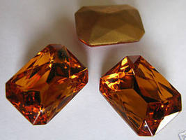 1 Vintage Triple Cut Topaz Colored Glass Octagon - $3.50
