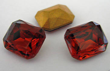 Primary image for 1 VintageTriple Cut Madeira Topaz Colored Glass Octagons