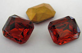 1 VintageTriple Cut Madeira Topaz Colored Glass Octagons - $2.45
