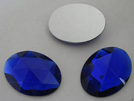 1 Vintage Sapphire Colored Glass Rose Cut Oval Flat Back - $6.50