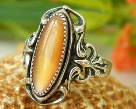 Native American Ring Sterling Silver Golden Shell Size 7 WM Navajo - £38.20 GBP