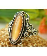 Native American Ring Sterling Silver Golden Shell Size 7 WM Navajo - £35.76 GBP