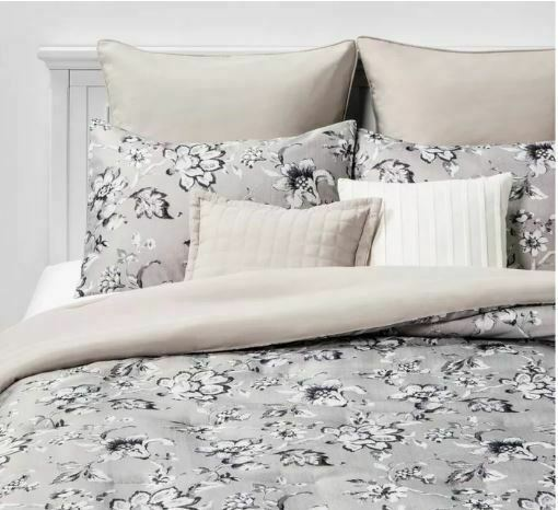 SEALED/ NEW  Queen Leah Floral 8pc Bed Set Neutral