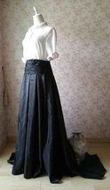 Women High Waisted Black Maxi Skirt Pleated Maxi Skirt with Train Evening Skirt image 2