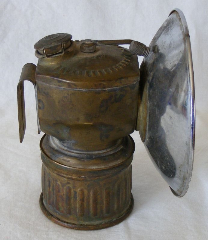 Justrite Streamlined carbide lamp, as found