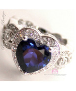 Love Beauty for Ashes® Heart for Jerusalem Sapphire Blue Cz Ring Size 5 - $44.25