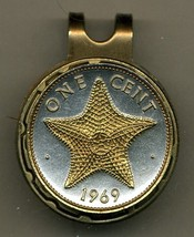 "Bahamas 1 cent ""Star fish"" 2-Toned Gold on Silver coin golf marker - $60.00"