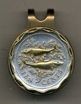 """Bahamas 10 cent """"Bone fish"""" 2-Toned Gold on Silver Coin Golf Marker - $64.00"""