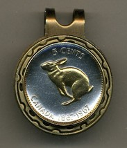 """Canadian Centennial 5 cent """"Rabbit"""" 2-Toned Gold on Silver coin golf ma... - $57.00"""