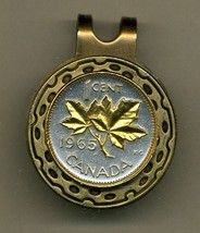 "Canadian penny ""Maple leaf"" 2-Toned Gold on Silver coin golf marker - $57.00"