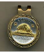 "Canadian nickel ""Beaver"" 2-Toned Gold on Silver coin golf marker - $57.00"
