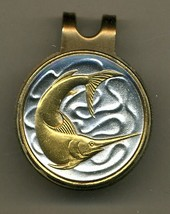 "Singapore 20 cent ""Sword fish"" 2-Toned Gold on Silver coin golf marker - $57.00"