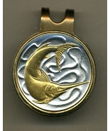 """Singapore 20 cent """"Sword fish"""" 2-Toned Gold on Silver coin golf marker - $57.00"""