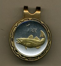 "Iceland 1 krona ""Cod fish"" 2-Toned Gold on Silver coin golf marker - $57.00"