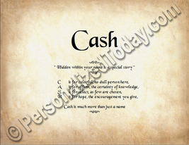 Cash Hidden Within Your Name Is A Special Story Letter Poem  8.5 x 11 Print - $8.95