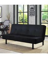 "Tufted Futon Sofa Couch Sleeper Bed Black Microfiber 65"" 3-Position Adju... - $127.18"