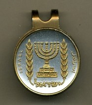 "Israel ½ Lirah ""Menorah"" 2-Toned Gold on Silver  Coin Golf Marker - $73.00"