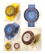 6 Lines Rhinestones Silicone / Jelly Band Watch, Water Resistant - $15.98