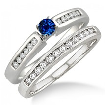 1.25 Carat Sapphire & Simulated Diamond Affordable Bridal Set 14K White Gold Fn  - $99.99