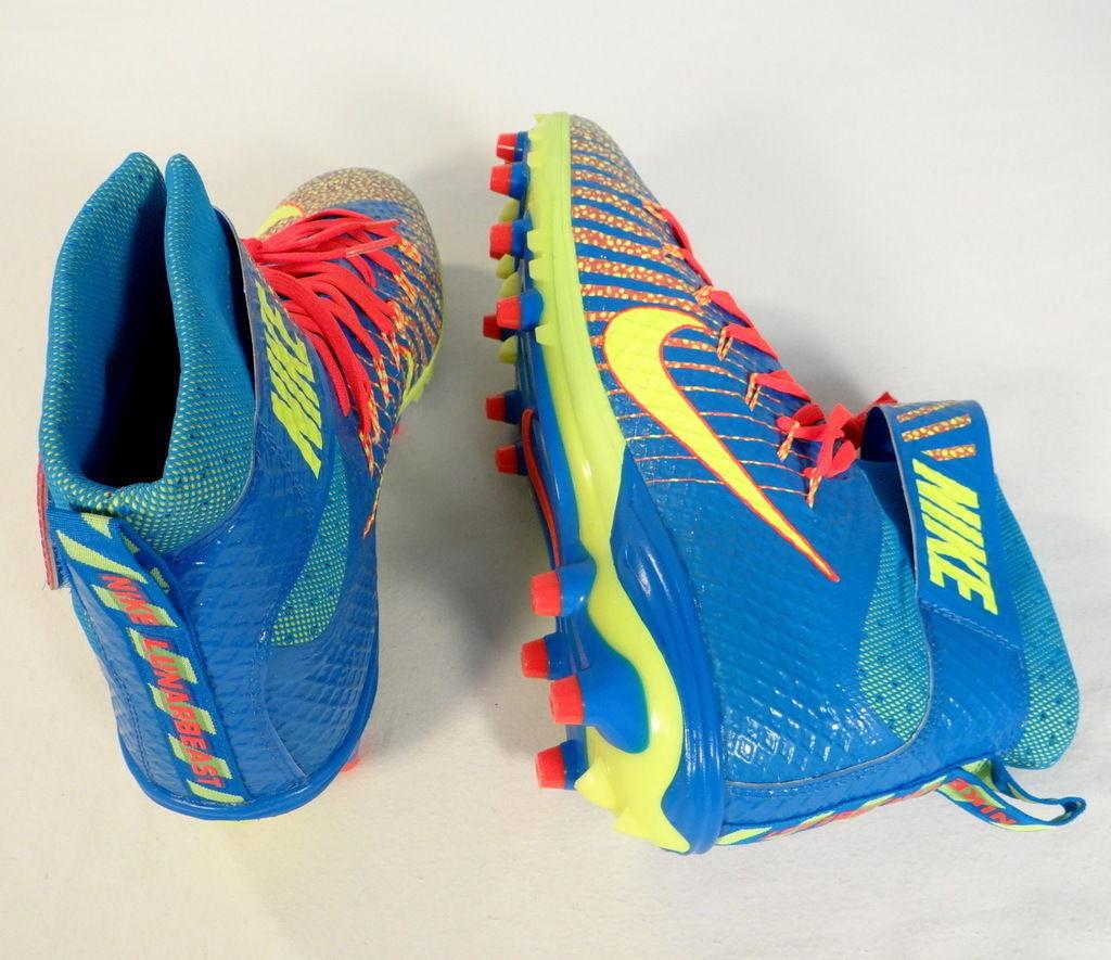 reputable site 3ca09 48b04 Nike Lunarbeast Elite TD Nikeskin Blue Volt   Red Football Cleats Mens NWT