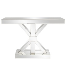 "Howard Elliott Clear Mirror ""X"" Shaped Console Table #99058 - $699.99"