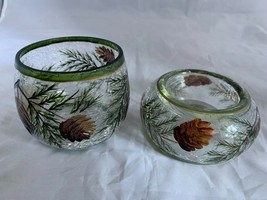 Yankee Candle Crackle Glass Fall Pinecone Autumn Votive Candle Holder Set - $18.69