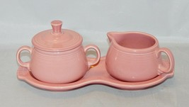 Fiesta Contemporary Rose Sugar Creamer and Underplate - $11.88