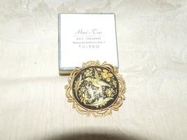 Vintage 1930s TOLEDO SPAIN Damascene Filagree Pin Bird Flowers 24K Gold ... - $50.00