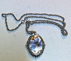 "WHITING DAVIS Enamel on Copper Pendant Necklace 22"" Chain Slight Imperfe... - $5.00"