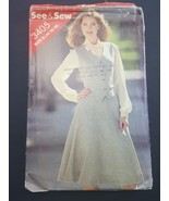 SEE & SEW Sewing Pattern 3405 Misses Vest and Skirt size B 14 16 18 - $6.95