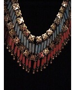 Vtg Egyptian Style Brass Filigree Coral Turq Necklace Earrings Book $450... - $88.11