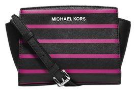 NWT Michael Kors Handbag Selma Stripe Saffiano Leather Mini Messenger Cr... - $129.99