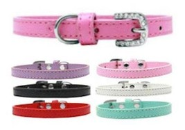 Omaha Plain Dog Collar * Rhinestone Buckle * 7 Colors * Puppy Pet Wear - €7,78 EUR+