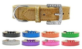 LINCOLN Plain Ice Cream Dog Collar * Rhinestone Buckle Glittery Puppy Pe... - €11,25 EUR+
