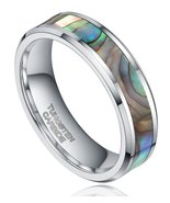 6mm Mens Womens Tungsten Wedding Ring Band; Abalone Shell Inlay Sizes 4-11 - $24.95