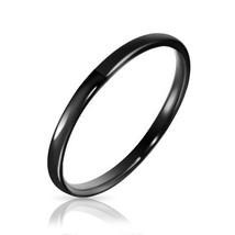 2mm Womens Black Tungsten Wedding Ring Band, High Polish Sizes 4-12 w/Ha... - $29.95