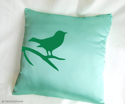 Handmade Modern Bird Cushion. Felt Bird On Brunch Mint And Green Pillow ... - $37.50