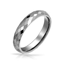 4mm Mens Womens Tungsten Wedding Ring Band; Multi-Faceted, Sizes 5-14 - $29.95