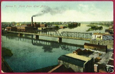 Primary image for AURORA ILLINOIS River Bridge North Bull Durham IL 1910
