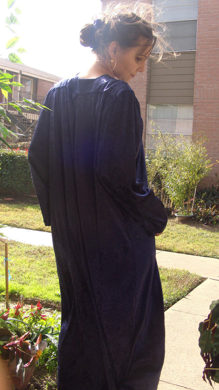 Handmade Women Clothing Maxi Long Blue Velour Islamic Muslime Dress Size: S-M