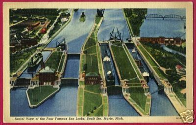 SOO MICHIGAN View of Locks ships Sault Ste Marie MI