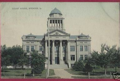 Primary image for SPENCER IOWA Court House Vintage Postcard 1909 IA