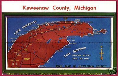 KEWEENAW CO MICHIGAN Map Lake Superior MI PC