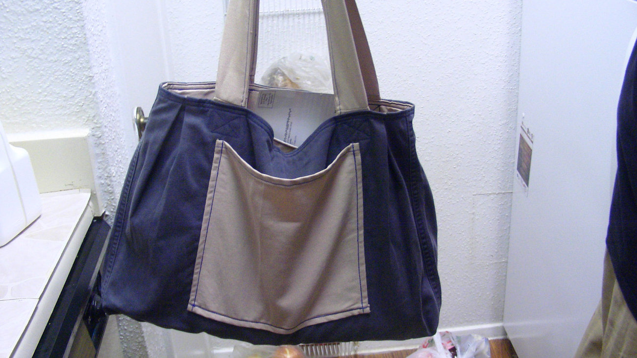 Handmade Large 2 side use Fabric Jeans Denim Summer Diaper Grocery Tote Bag Free