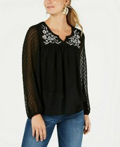 Style & Co Women's Floral-Embroidered Clip-Dot Top Deep Black Medium  - $16.93